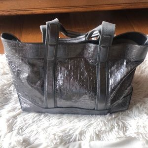 Silver Logo  Leather Tory Burch Tote Bag